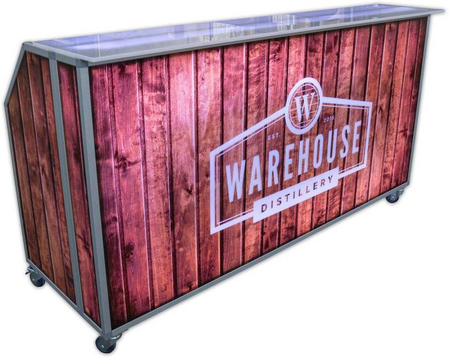 Portable Bar with Rustic Barnwood Graphics