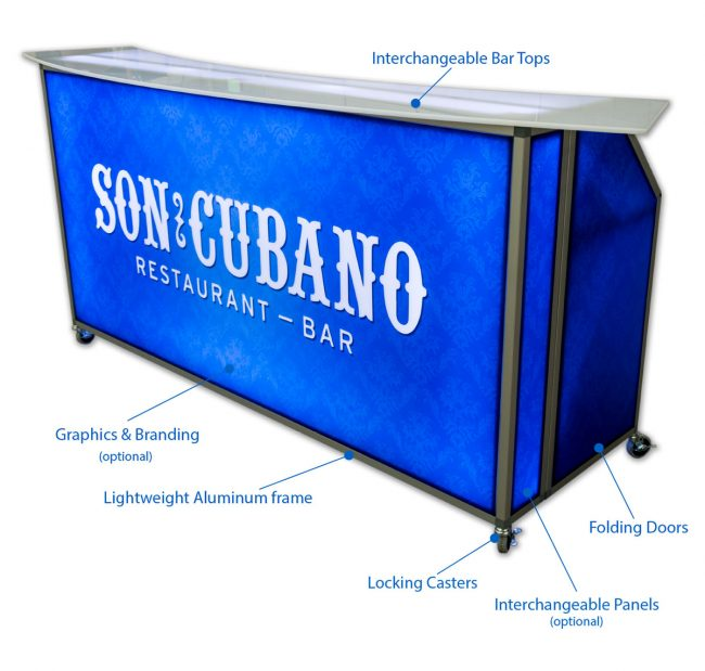 77 Portable Bar Features Front