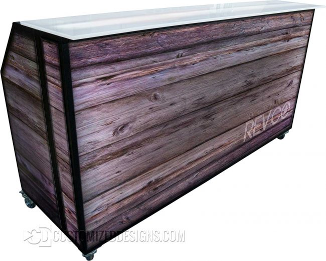 77 Portable Bar w/ Backlit Wood Panels & Black Frame