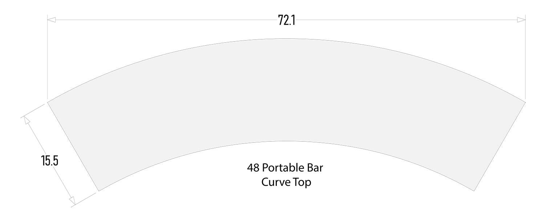 "Curve Bar Top for 48"" Portable Bar"