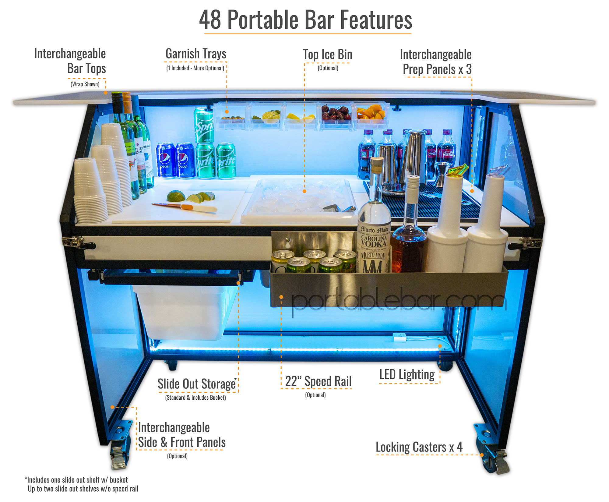 "48"" Portable Bar Features"