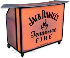 48 Portable Bar w/ Jack Daniels Fire Logo & Black Frame