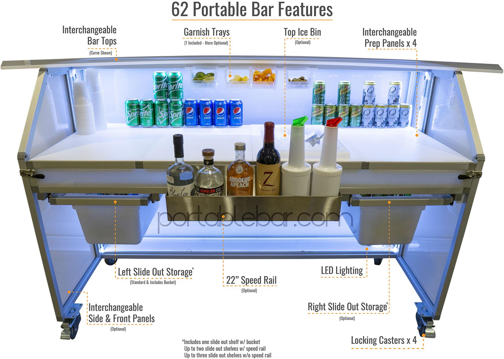 """62"""" Portable Bar Details & Features"""