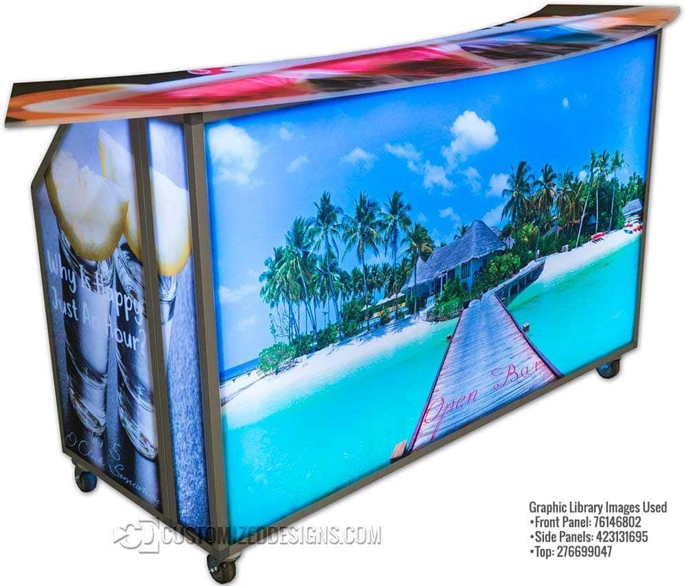Portable Bar w/ Beach Theme Graphics