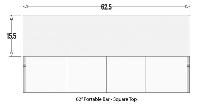 "62"" Portable Bar Square Top"
