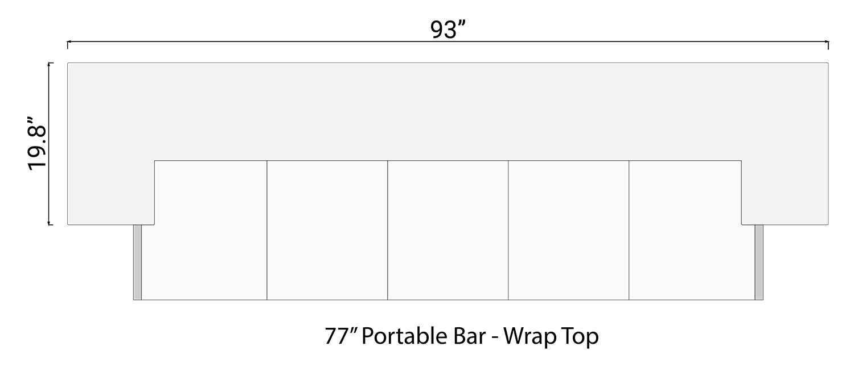 """93"""" Wrap Bar Top for 77"""" Portable Bar"""