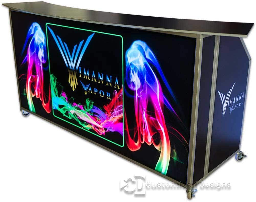 77 Portable Folding Bar With Custom Vape Graphics
