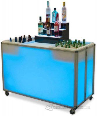 Folding Portable Bar Bar w/ Ice Bins