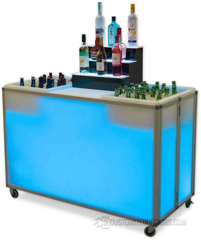 Folding Portable Bar Bar w/ Ice Bins