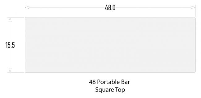 """Square Bar Top for 48"""" Mobile Bars"""