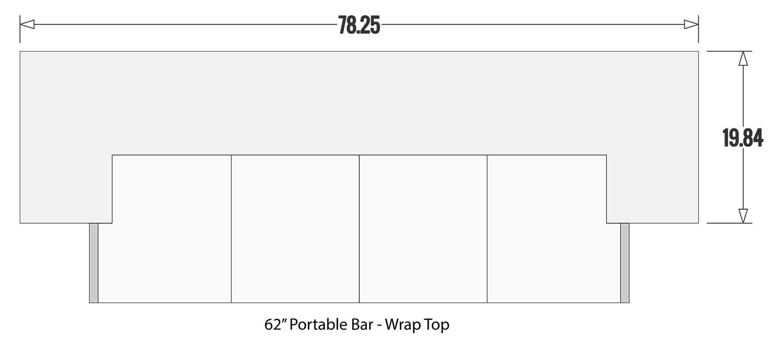 62 Portable Bar Wrap Bar Top